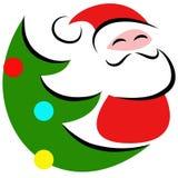Άγιος Βασίλης με το διακοσμημένο χριστουγεννιάτικο δέντρο Στοκ Εικόνες