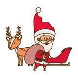 Άγιος Βασίλης με το χαρακτήρα ειδώλων ταράνδων ελεύθερη απεικόνιση δικαιώματος