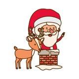 Άγιος Βασίλης με το χαρακτήρα ειδώλων ταράνδων απεικόνιση αποθεμάτων
