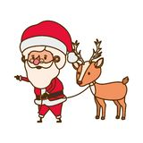 Άγιος Βασίλης με το χαρακτήρα ειδώλων ταράνδων διανυσματική απεικόνιση