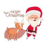 Άγιος Βασίλης με το χαρακτήρα ταράνδων και ειδώλων Χαρούμενα Χριστούγεννας απεικόνιση αποθεμάτων