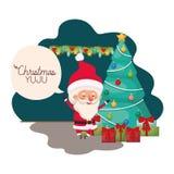Άγιος Βασίλης με το χριστουγεννιάτικο δέντρο και τα δώρα διανυσματική απεικόνιση