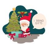 Άγιος Βασίλης με το χριστουγεννιάτικο δέντρο και τα δώρα απεικόνιση αποθεμάτων