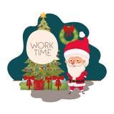 Άγιος Βασίλης με το χριστουγεννιάτικο δέντρο και τα δώρα ελεύθερη απεικόνιση δικαιώματος