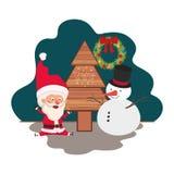 Άγιος Βασίλης με το χριστουγεννιάτικο δέντρο και χιονάνθρωπος διανυσματική απεικόνιση