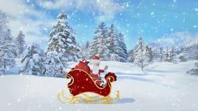 Άγιος Βασίλης οδηγά πέρα από το δάσος σε ένα έλκηθρο με τα δώρα Χαρούμενα Χριστούγεννα και ζωτικότητα καλής χρονιάς 2019 Άνευ ραφ απεικόνιση αποθεμάτων
