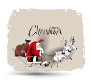 Άγιος Βασίλης οδηγά το έλκηθρο ταράνδων που πετά στο διάνυσμα διανυσματική απεικόνιση