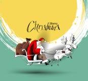 Άγιος Βασίλης οδηγά το έλκηθρο ταράνδων που πετά στο διανυσματικό backgroun απεικόνιση αποθεμάτων