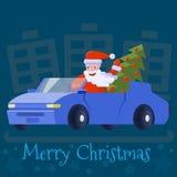 Άγιος Βασίλης οδηγεί ένα αυτοκίνητο με ένα κομψό χριστουγεννιάτικο δέντρο διανυσματική απεικόνιση
