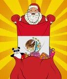 Άγιος Βασίλης παίρνει τη εθνική σημαία του Μεξικού από την τσάντα με τα παιχνίδια στο λαϊκό ύφος τέχνης Απεικόνιση του νέου έτους ελεύθερη απεικόνιση δικαιώματος