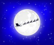 Άγιος Βασίλης πετά σε ένα έλκηθρο στα βόρεια ελάφια Χριστουγέννων διανυσματική απεικόνιση