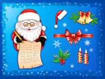 Άγιος Βασίλης που γράφει στον κύλινδρο με τα εικονίδια Χριστουγέννων απεικόνιση αποθεμάτων