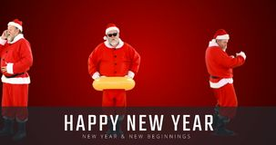 Άγιος Βασίλης που κάνει τις διάφορες δραστηριότητες και το κείμενο 4k καλής χρονιάς φιλμ μικρού μήκους