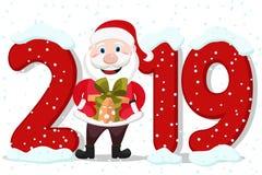 Άγιος Βασίλης που κρατά ένα δώρο δίπλα στα ψηφία του νέου έτους σε ένα λευκό διανυσματική απεικόνιση