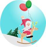 Άγιος Βασίλης που οδηγά ένα balooon-ελάφι Στοκ Εικόνα