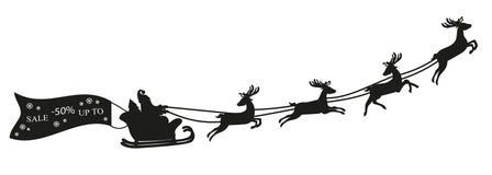 Άγιος Βασίλης που πετά με τα ελάφια και το έμβλημα πώλησης απεικόνιση αποθεμάτων