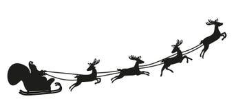Άγιος Βασίλης που πετά με τα ελάφια σκιαγραφία απεικόνιση αποθεμάτων