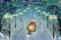Άγιος Βασίλης που πηγαίνει με τα δώρα στην πόλη χειμερινής χιονώδη νύχτας απεικόνιση αποθεμάτων