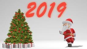 Άγιος Βασίλης που χορεύει κοντά στο χριστουγεννιάτικο δέντρο Η έννοια των Χριστουγέννων και του νέου έτους Άνευ ραφής βρόχος διανυσματική απεικόνιση