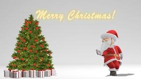 Άγιος Βασίλης που χορεύει κοντά στο χριστουγεννιάτικο δέντρο Η έννοια των Χριστουγέννων και του νέου έτους Άνευ ραφής βρόχος απεικόνιση αποθεμάτων