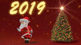 Άγιος Βασίλης που χορεύει κοντά στο χριστουγεννιάτικο δέντρο Η έννοια των Χριστουγέννων και του νέου έτους Άνευ ραφής βρόχος φιλμ μικρού μήκους