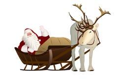 Άγιος Βασίλης σε ένα έλκηθρο που τραβιέται από τον τάρανδο σε ένα άσπρο υπόβαθρο Στοκ Φωτογραφία