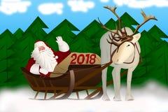 Άγιος Βασίλης σε ένα έλκηθρο που τραβιέται από τον τάρανδο σε ένα υπόβαθρο Στοκ Εικόνες