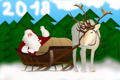 Άγιος Βασίλης σε ένα έλκηθρο που τραβιέται από τον τάρανδο σε ένα υπόβαθρο Στοκ φωτογραφία με δικαίωμα ελεύθερης χρήσης