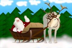 Άγιος Βασίλης σε ένα έλκηθρο που τραβιέται από τον τάρανδο σε ένα υπόβαθρο Στοκ Φωτογραφίες