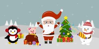 Άγιος Βασίλης στις στάσεις γυαλιών στο χριστουγεννιάτικο δέντρο, ένας χιονάνθρωπος με ένα clapperboard, ένας χοίρος κοιτάζει από  διανυσματική απεικόνιση