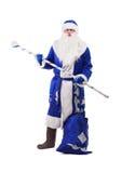 Άγιος Βασίλης στο μπλε κοστούμι Στοκ φωτογραφίες με δικαίωμα ελεύθερης χρήσης