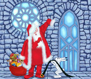 Άγιος Βασίλης στο σπίτι πάγου διανυσματική απεικόνιση