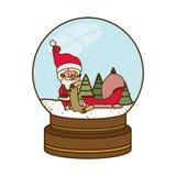 Άγιος Βασίλης στο χαρακτήρα ειδώλων σφαιρών κρυστάλλου διανυσματική απεικόνιση