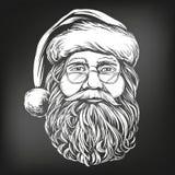 Άγιος Βασίλης, συρμένο διανυσματικό σκίτσο απεικόνισης συμβόλων Χριστουγέννων χέρι, που επισύρεται την προσοχή στην κιμωλία σε έν ελεύθερη απεικόνιση δικαιώματος