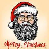 Άγιος Βασίλης, συρμένο διανυσματικό σκίτσο απεικόνισης συμβόλων Χριστουγέννων χέρι διανυσματική απεικόνιση