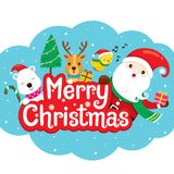 Άγιος Βασίλης, τάρανδος και φίλος στο έμβλημα Χαρούμενα Χριστούγεννας Στοκ εικόνα με δικαίωμα ελεύθερης χρήσης