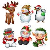 Άγιος Βασίλης, τάρανδος, χιονάνθρωπος, penguin, αρωγός Santas και μαθητευόμενος Σκίτσο για τη ευχετήρια κάρτα, την εορταστικό αφί διανυσματική απεικόνιση