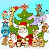Άγιος Βασίλης, χριστουγεννιάτικο δέντρο και εύθυμα ζώα ελεύθερη απεικόνιση δικαιώματος