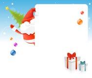 Άγιος Βασίλης, χριστουγεννιάτικο δέντρο, κενό χαρτόνι για το κείμενο Στοκ εικόνα με δικαίωμα ελεύθερης χρήσης