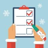 Άγιος Βασίλης γράφει τον κατάλογο διανυσματική απεικόνιση