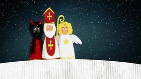 Άγιος Βασίλης, διάβολος και άγγελος πετάγματος που περπατά στο χιόνι Ευρωπαϊκή παράδοση Χριστουγέννων Συρμένη χέρι καλλιτεχνική ζ διανυσματική απεικόνιση