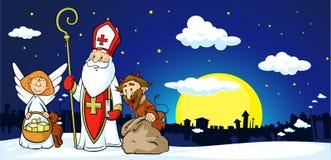 Άγιος Βασίλης, διάβολος και άγγελος στην πόλη - διάνυσμα ελεύθερη απεικόνιση δικαιώματος