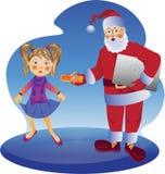 Άγιος Βασίλης και ένα κορίτσι απεικόνιση αποθεμάτων