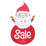 Άγιος Βασίλης και διακριτικό πώλησης Χριστουγέννων Στοκ Εικόνες