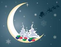 Άγιος Βασίλης και το έλκηθρό του στο φεγγάρι Στοκ Φωτογραφίες