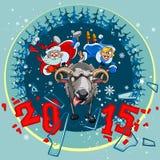 Άγιος Βασίλης και το κορίτσι χιονιού άρπαξαν τα πρόβατα κέρατων Στοκ φωτογραφία με δικαίωμα ελεύθερης χρήσης