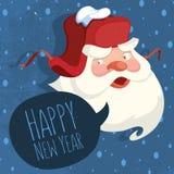 Άγιος Βασίλης με ένα ρωσικό καπέλο αυτιών καλή χρονιά Στοκ εικόνες με δικαίωμα ελεύθερης χρήσης