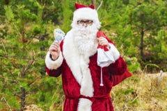 Άγιος Βασίλης με τα ευρο- τραπεζογραμμάτια και τσάντα δώρων στο δάσος Στοκ εικόνα με δικαίωμα ελεύθερης χρήσης