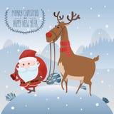 Άγιος Βασίλης με τα ελάφια στο λόφο χιονιού Χαρούμενα Χριστούγεννα και καλή χρονιά επιγραφής επίσης corel σύρετε το διάνυσμα απει διανυσματική απεικόνιση