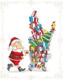 Άγιος Βασίλης με τα διανυσματικά κινούμενα σχέδια κάρρων αγορών διανυσματική απεικόνιση